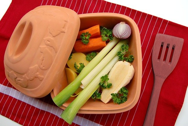 A plastic container of food
