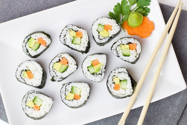 A group of sushi on a table